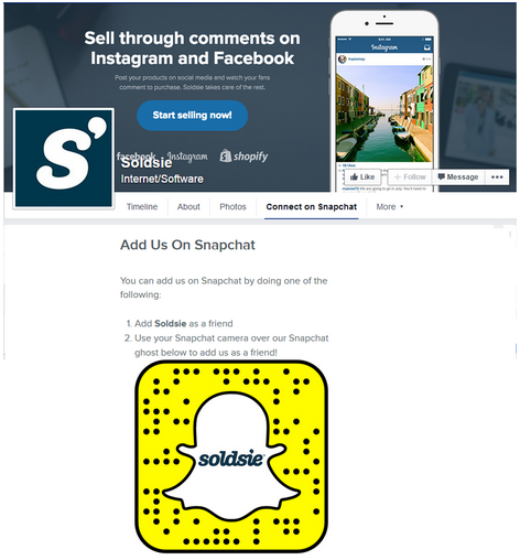 Customized Facebook business page tab to promote Snapchat